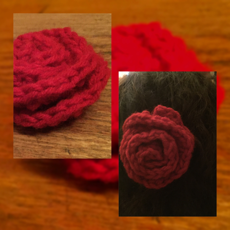 Crochet Rose Hair Accessory