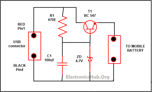 USB Mobile Phone Travel Charger Circuit