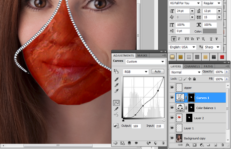 Bloody Face Insert - With Curves & Colors
