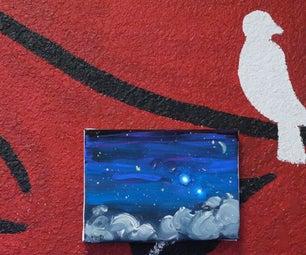Sparkle Night Sky (mixed Media: Paint+electronics+program)