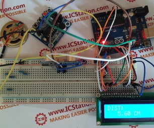 Ultrasonic Distance Display ISD1820 Voice Alarm System With Arduino