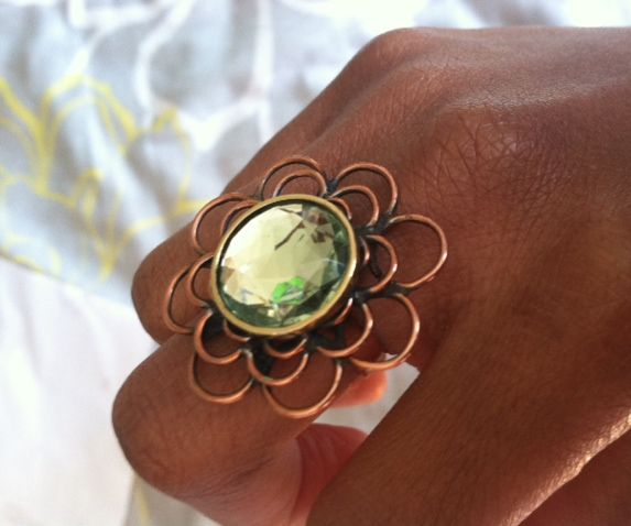 Flower ring made from copper