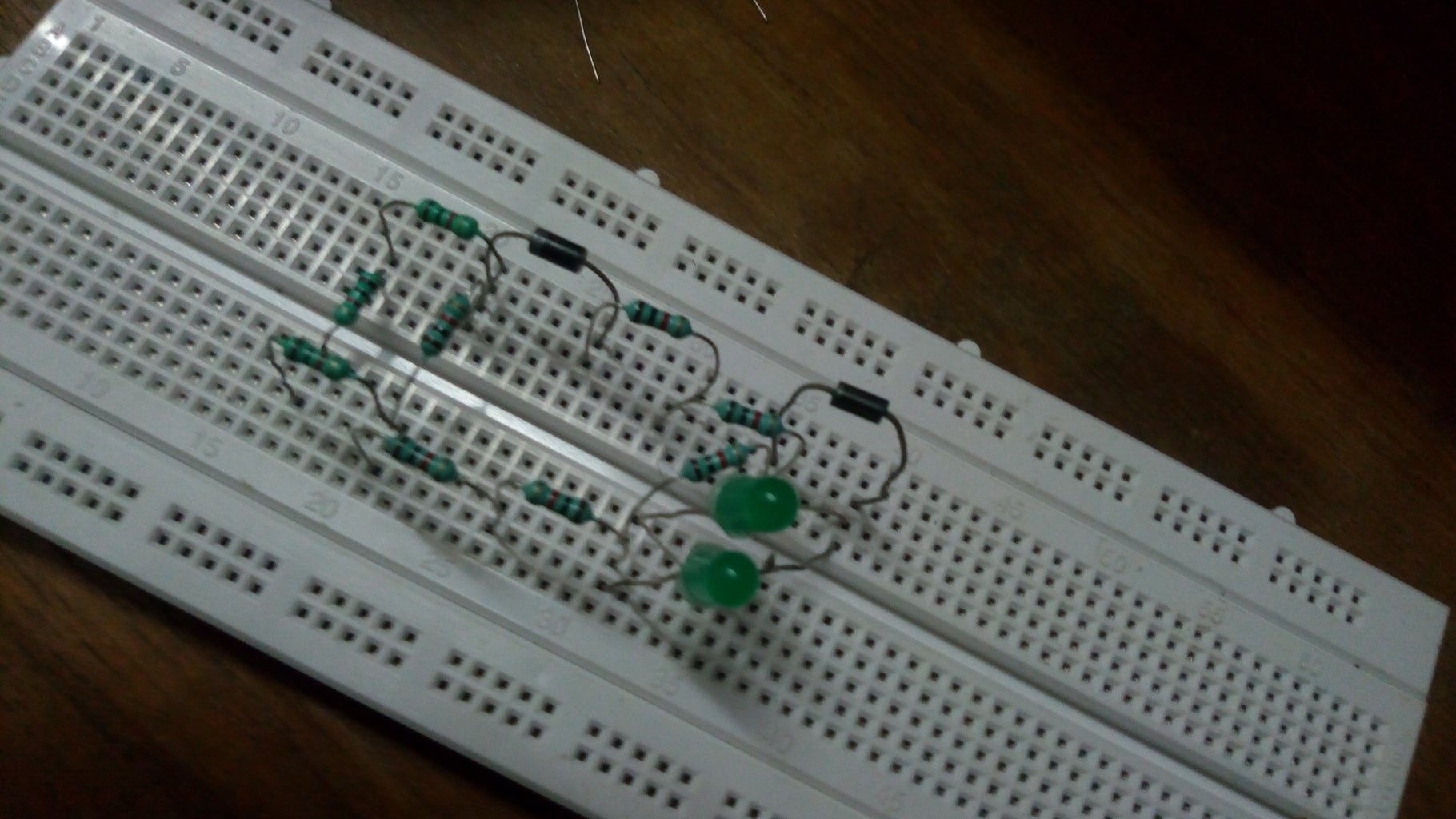 Placing the Green LED's and the Last 1K Resistor.