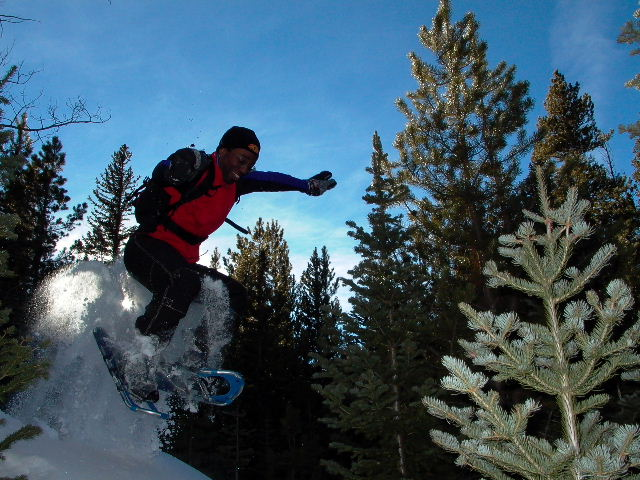 Freestyle Snowshoe Boulder Jumping