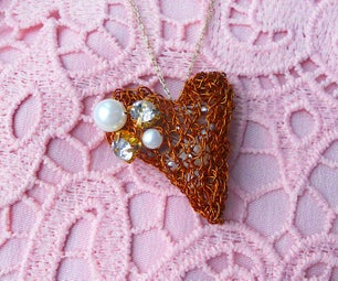 Knitted Wire Heart Pendant