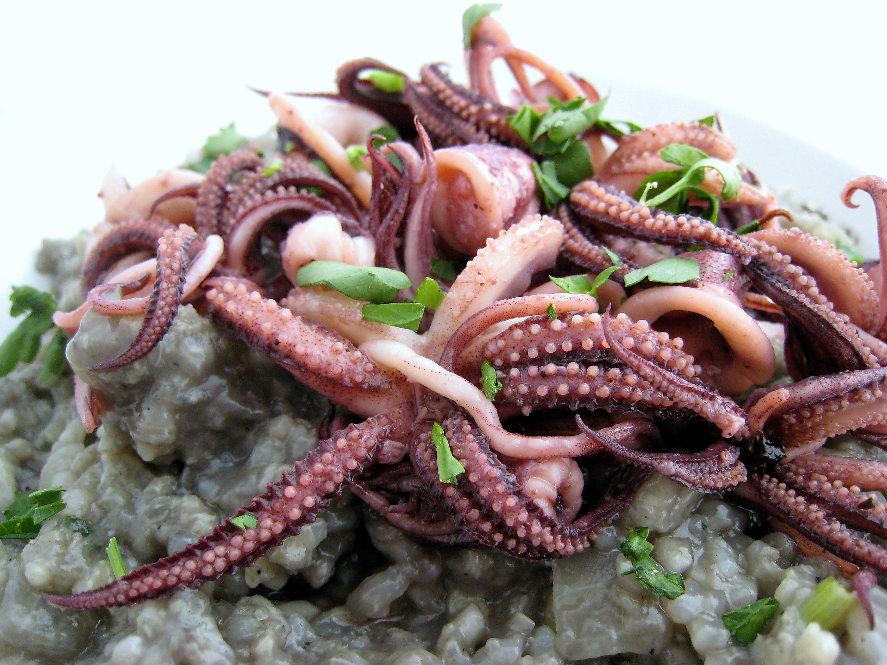 Squid Ink Risotto with Pan-Fried Squid