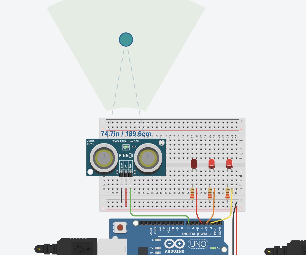 Ultrasonic Distance Sensor Arduino Tinkercad