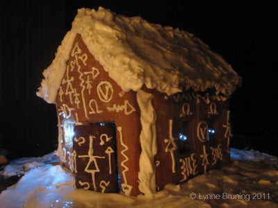 EBaked Gingerbread House With LEDs and Conductive Thread