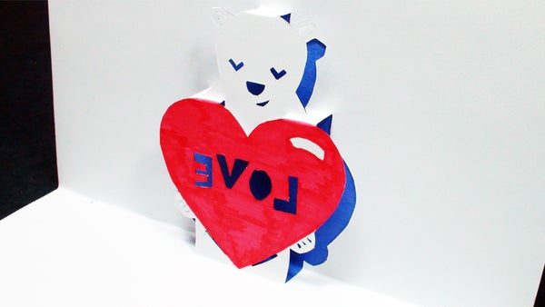 How to Make a How to Make a Heart Bear Love Pop Up Card (Kirigami 3D) Valentines Day Greetings!