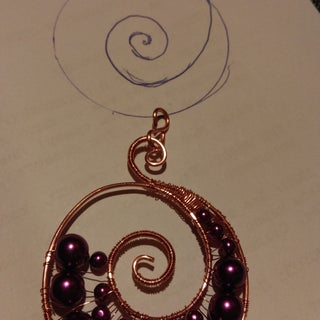 Swirled Wire Beaded Pendant