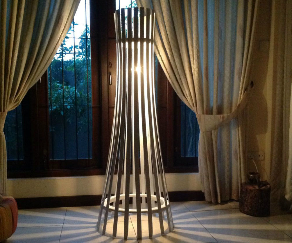 Easy Elegant Slat Wood Floor Lamp