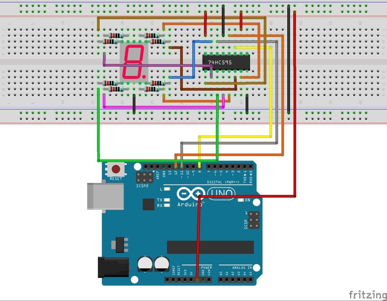 74HC595 With Arduino Uno R3