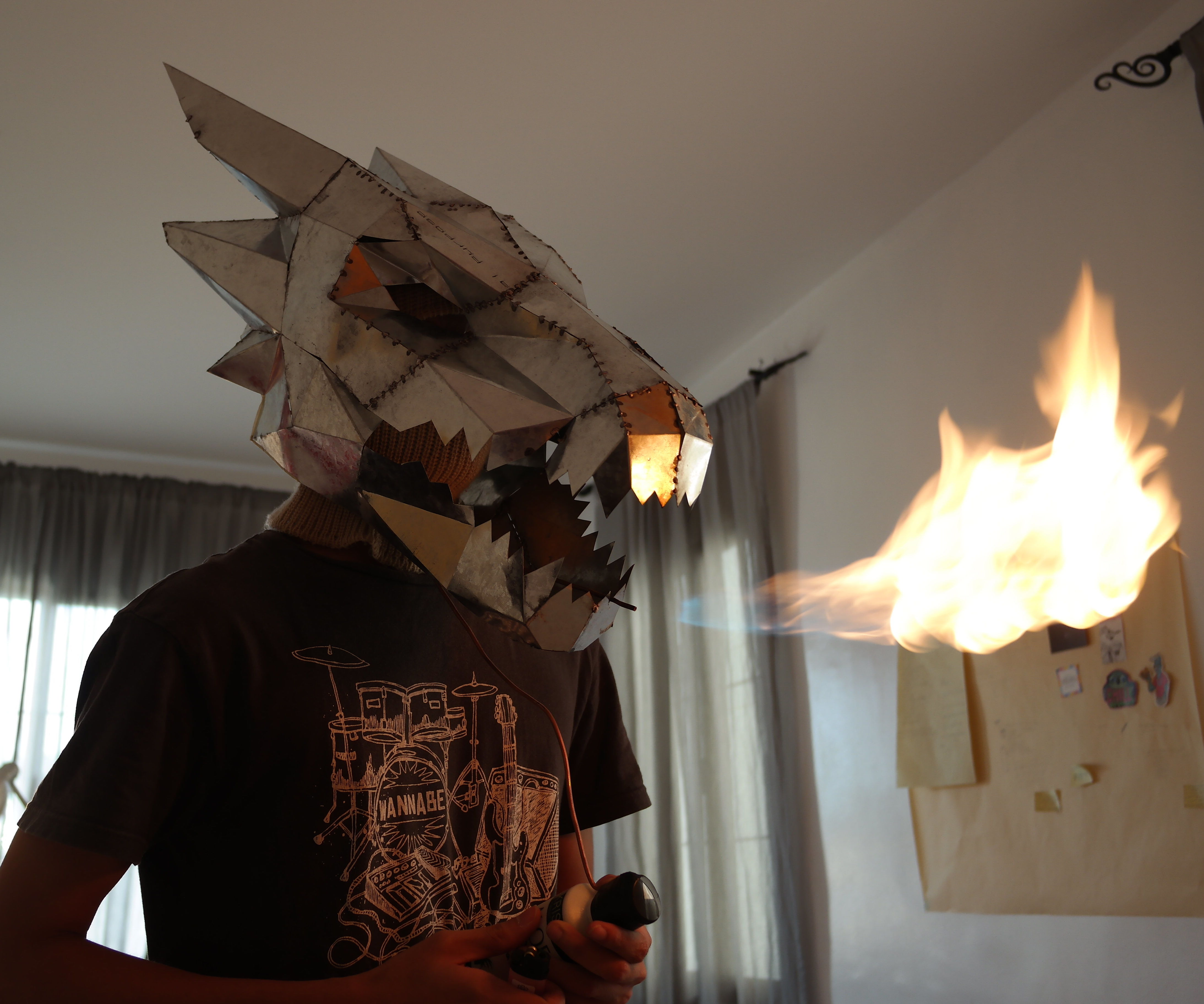 Fire breathing Steel Dragon helmet