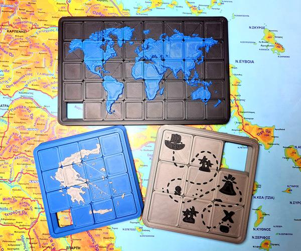 Map Sliding Puzzle 3D Printed