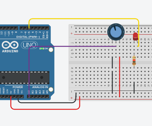 Fading/Controlling Led/brightness Using Potentiometer(Variable Resistor) and Arduino Uno