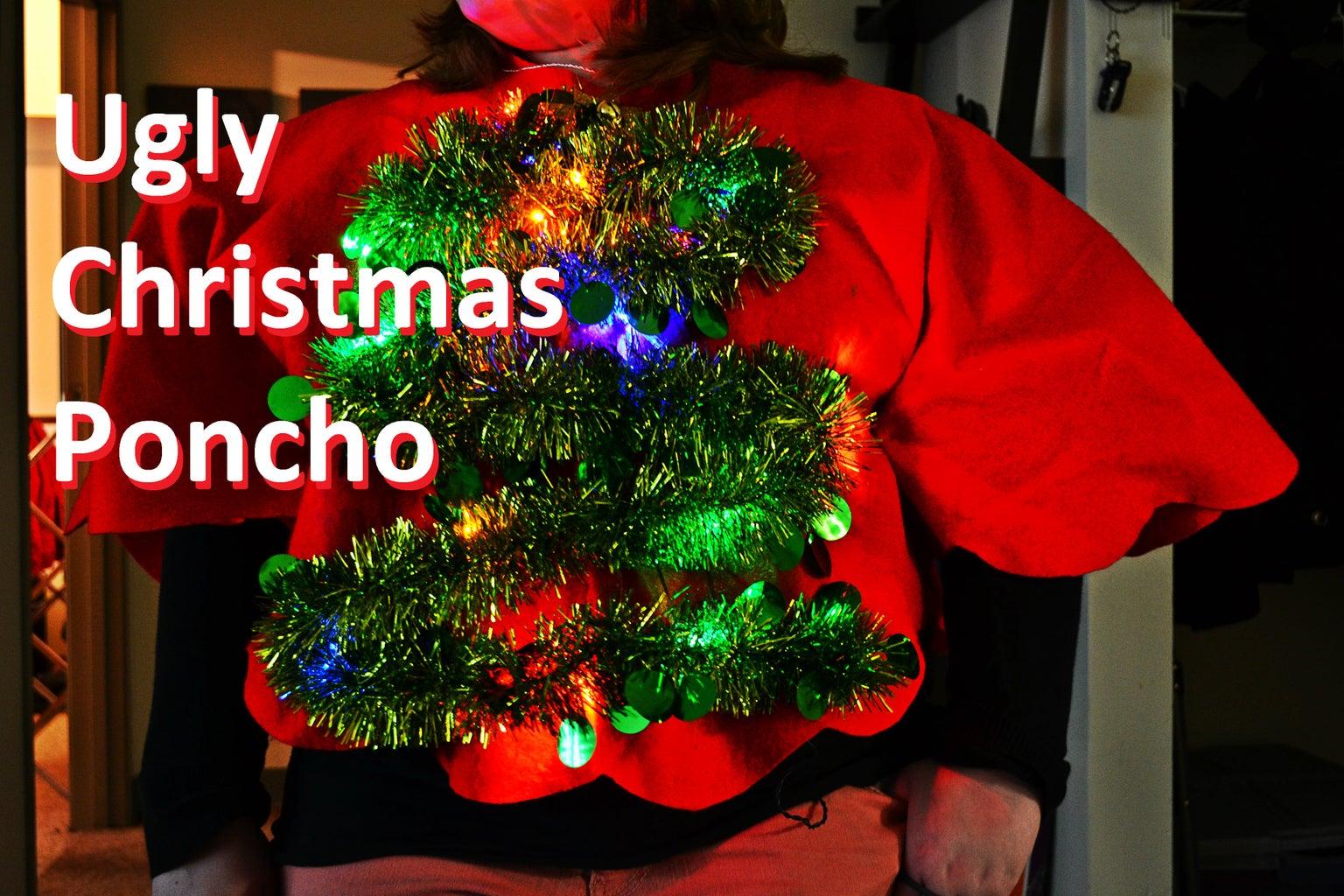 Light-up Christmas Tree Ugly Sweater/Poncho