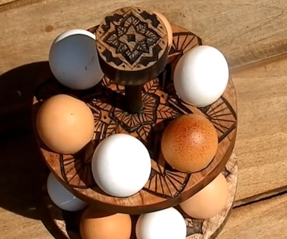 Egg Stand With Hand Carving