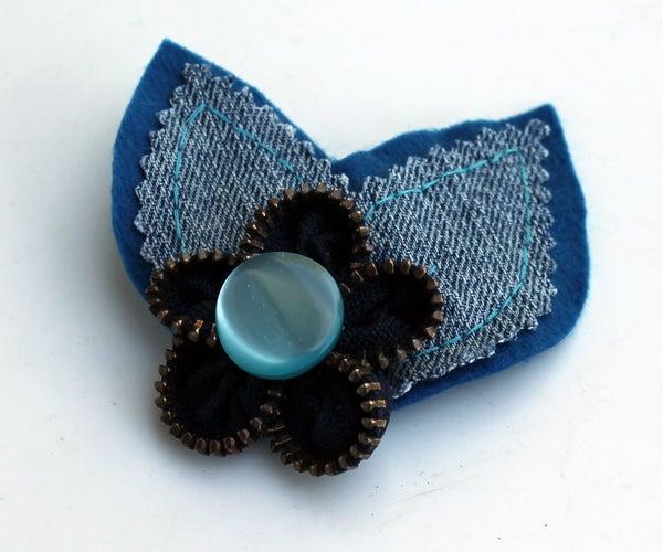 Zipper Flower Hair Clip