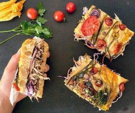 Spicy Pulled Pork, Coleslaw, Gardenscape Focaccia