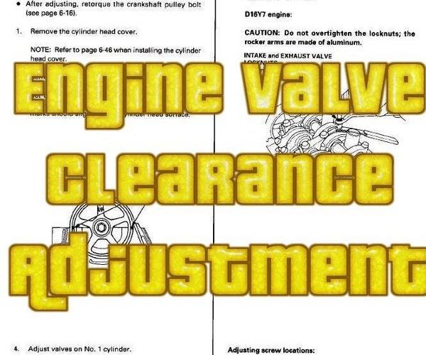 Adjusting the Engine Valve Clearance (on My Honda Civic 1999 D15B)