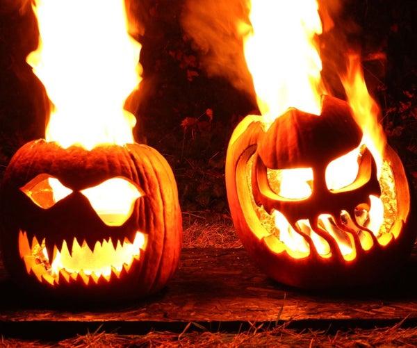 Flaming Halloween Jack-o'-lanterns