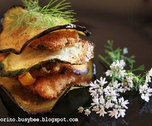 Fried Vegetables and Breaded Fish Fillets Stacks
