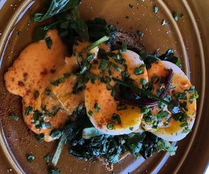 Soft Duck Eggs Benedict With Roasted Poblano Hollandaise and Wild Greens