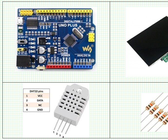 Arduino and 3.5 Inch (320x480) TFT LCD (ILI9488) SPI Interface With DHT22 Temperature / Humidity Measurement