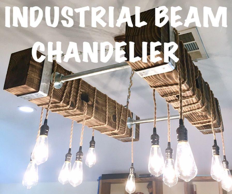 diy industrial beam chandelier with led edison bulbs  17