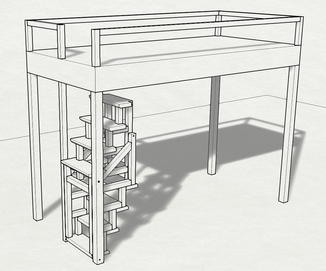 Loft-bed foldable wood stair