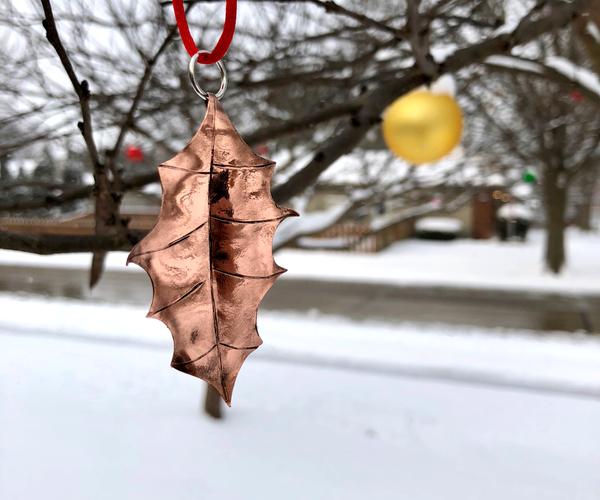 Make a Beautiful COPPER Holly Leaf Ornament!