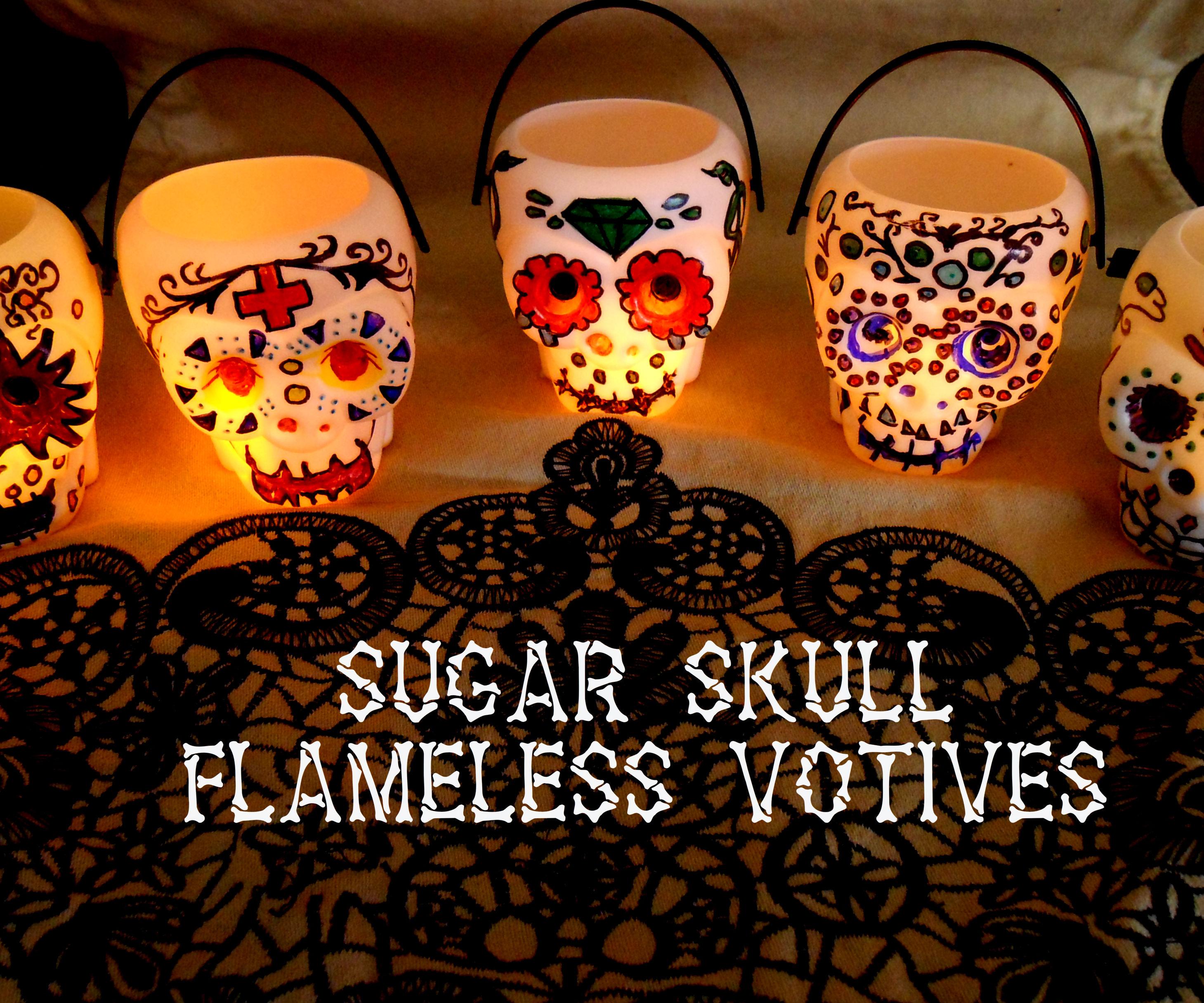 Sugar Skull Flameless Votives