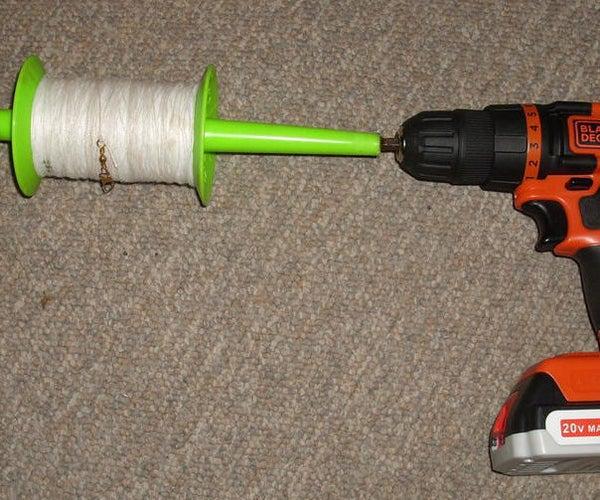 Kite String Winder Using Cordless Drill