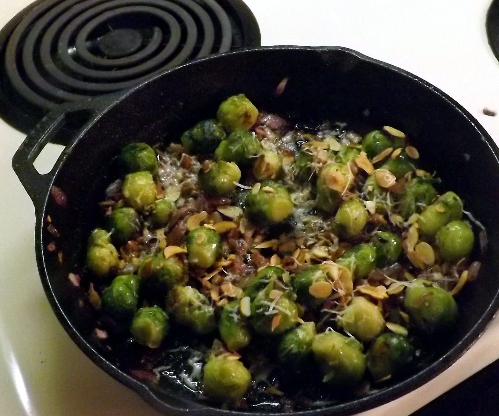 SAUTEED BRUSSELS SPROUTS WITH PARMESAN, PROSCIUTTO, & TOASTED ALMONDS