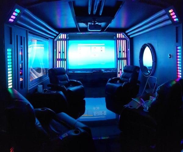 Sci-fi/Star Wars Man Cave Karaoke Home Theater W/Multicolored Lighting Effects