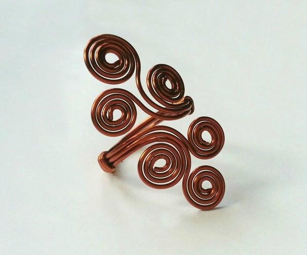DIY 6-Swirls Wire Ring