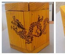 Chinese Dragon Pyrograved Wooden Coin Box