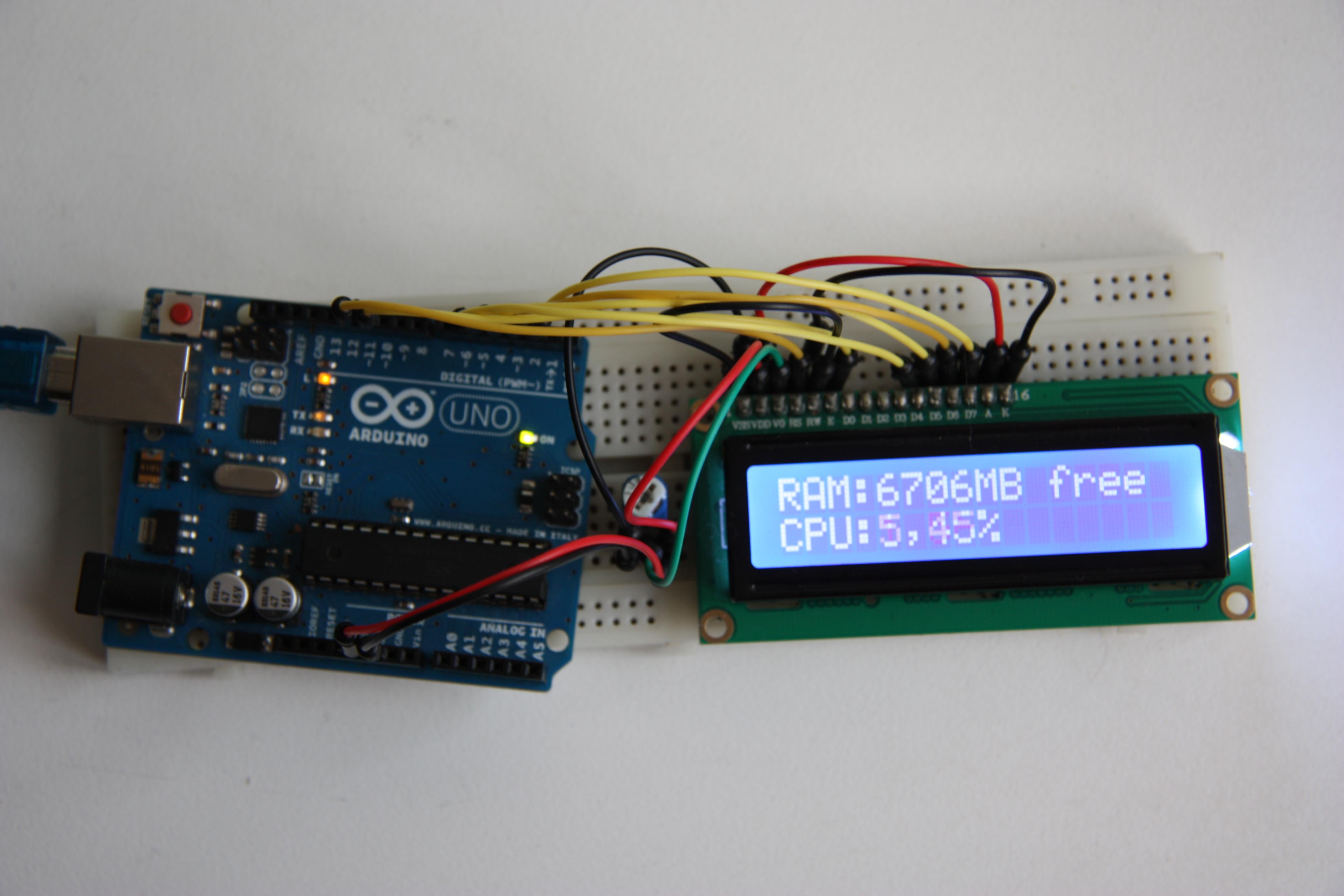 Arduino CPU+RAM usage monitor LCD