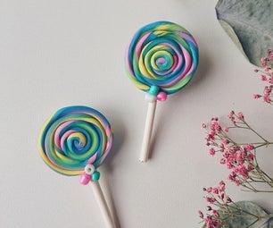 糖果耳环由聚合物粘土制成