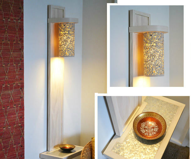 DIY wall lamp / sconce with a shelf made with hand tools