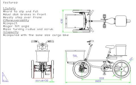 Compact Tilting Cargo Trike