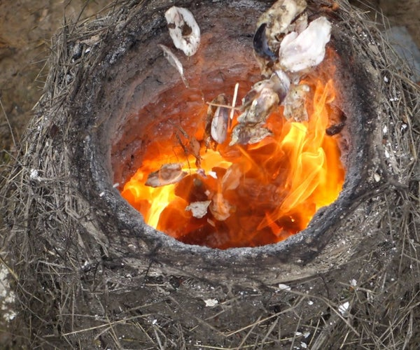Burn Seashell Lime in a Primitive Straw/Clay Kiln!