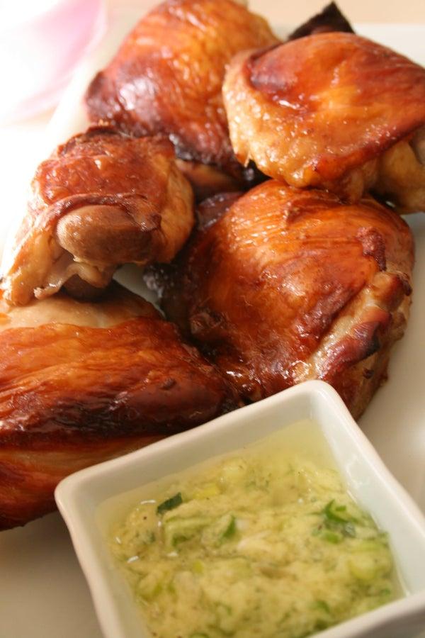 Crispy Skin Sake Chicken With Ginger Sauce