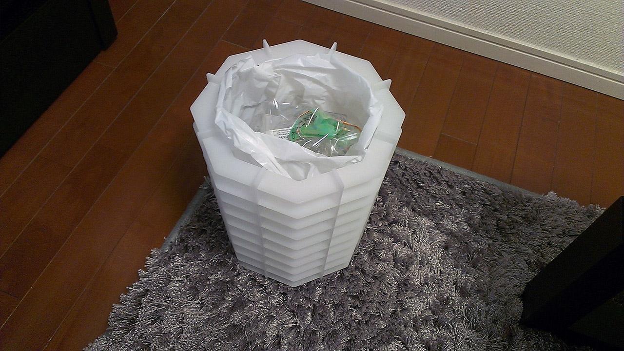 インターロック形式のごみ箱
