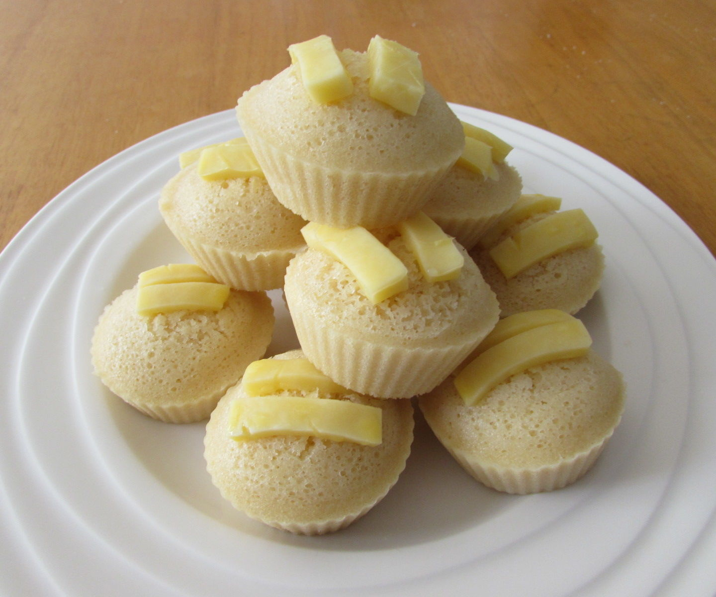 Steamed Butter Muffins with Cheese Topping (Butter Puto)
