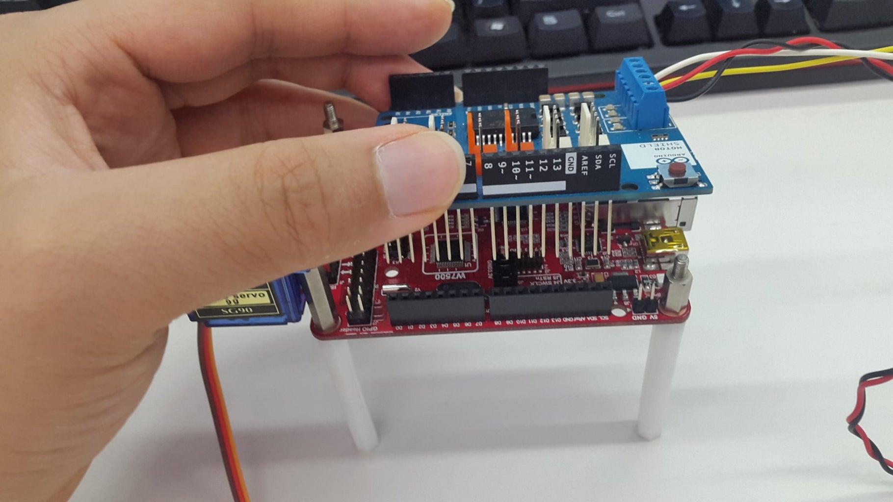 Hardware Connection:Arduino Motor Shield+WIZwiki-W7500