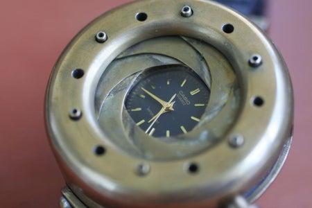 "Steampunk Wristwatch With Mechanical Iris Cover. ""TimEye""."