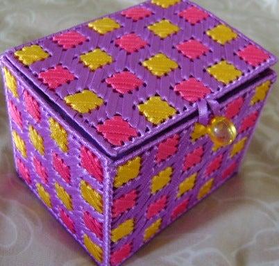 Ribbon Embroidered Plastic Canvas Jewelry/Keepsake Box (A Perfect Handmade Gift)