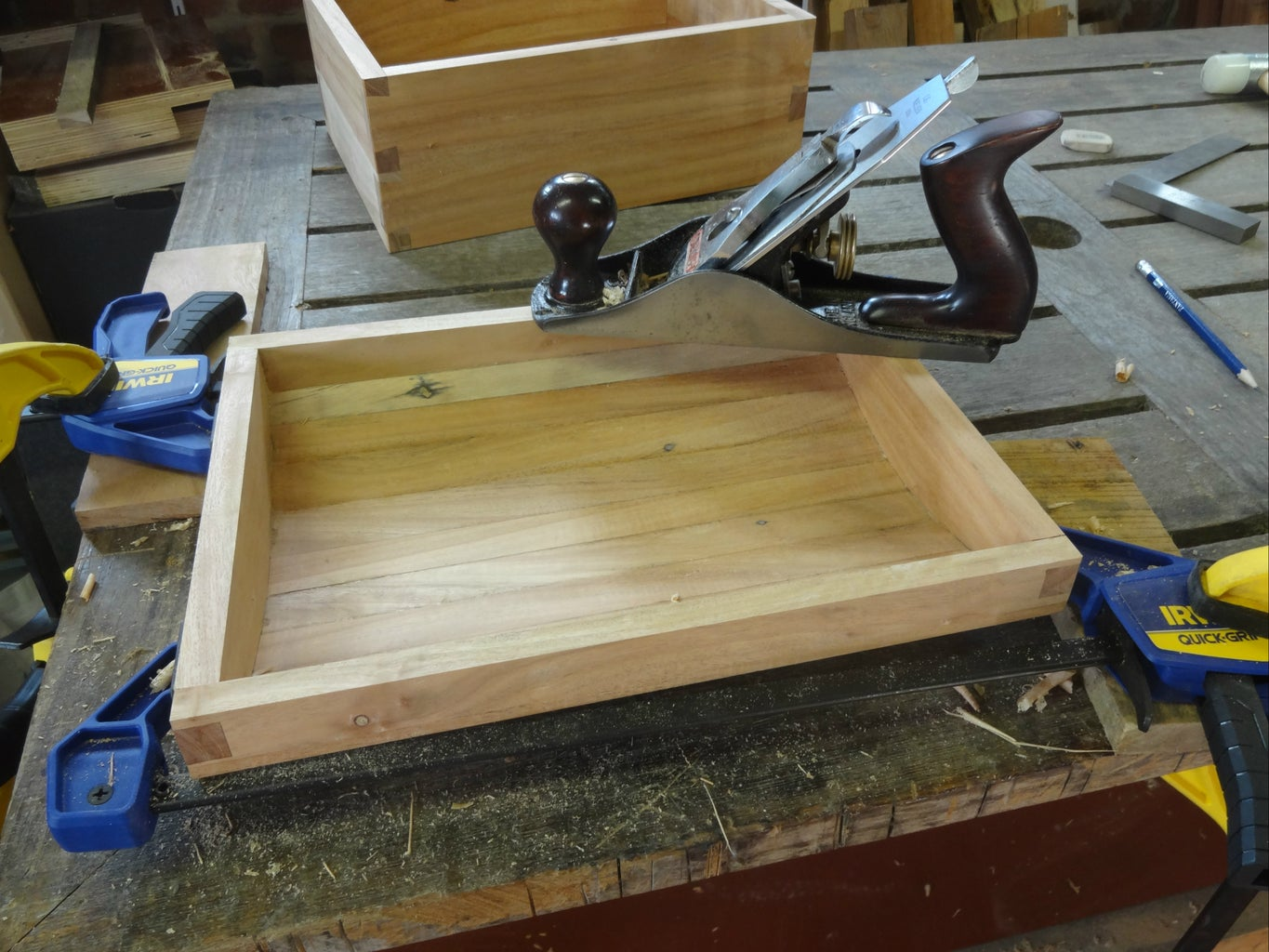 Planing Rim of Lid Flush, Trimming Dovetail Joints