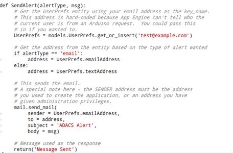 App Engine: Alerts.py